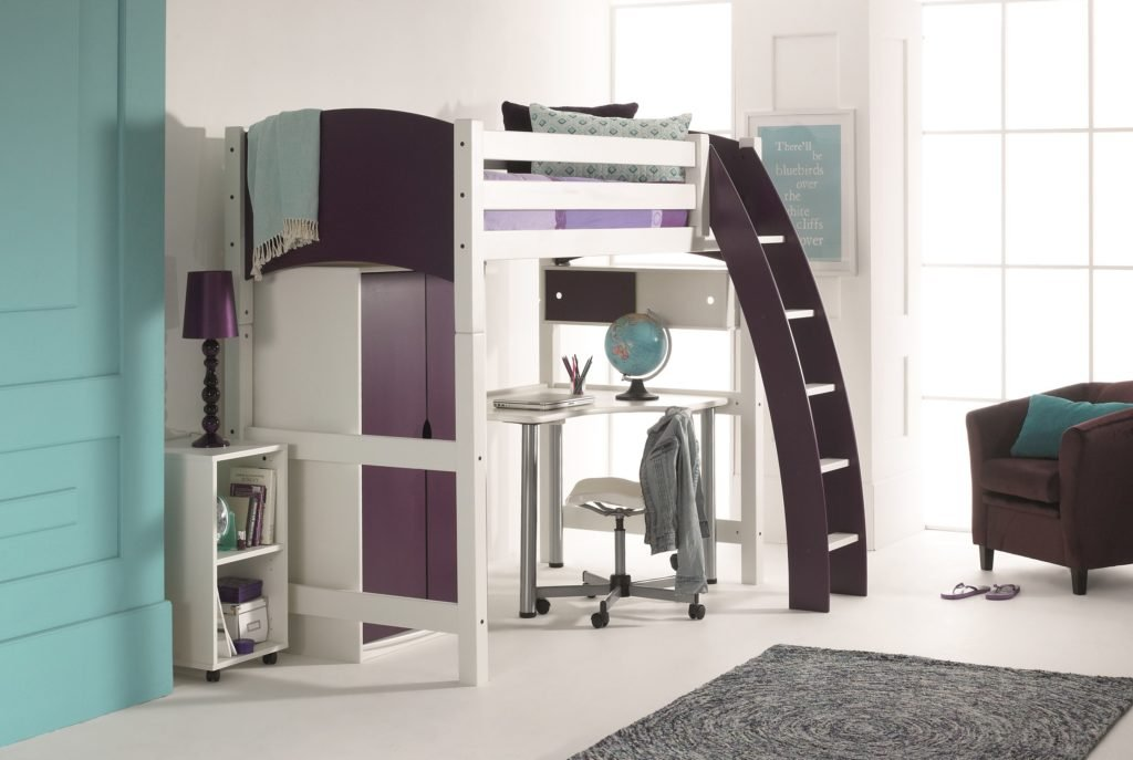 High Sleeper Bed Wardrobe Unit And Free Standing Desk