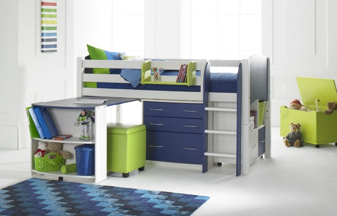 All you need to convert a starter bed into a cabin bed. Legs space saving straight ladder (in a choice of 8 colours) and fittings. & Cabin Conversion Kit with curved or straight ladder | Scallywag Kids