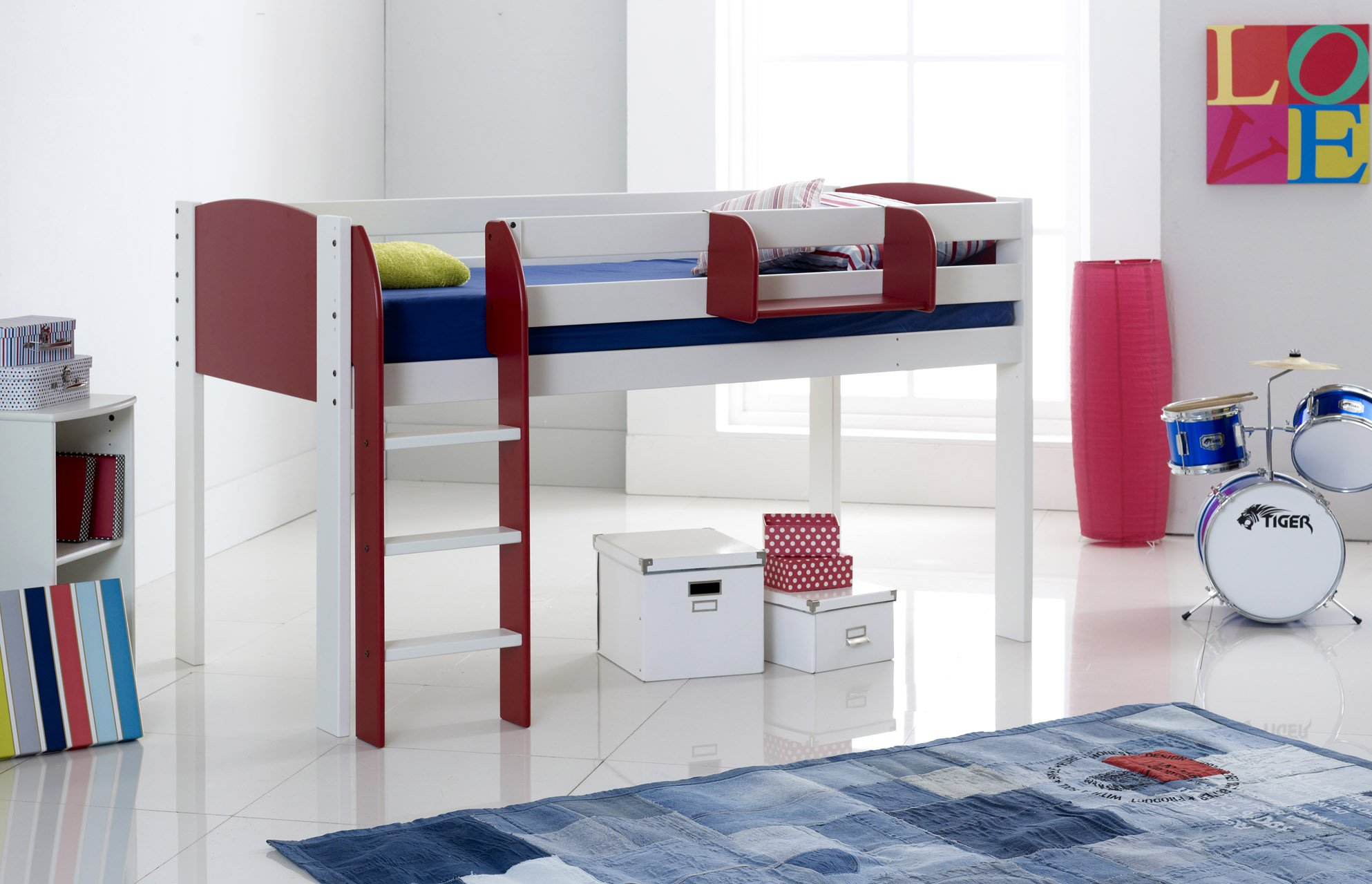 Scallywag Kids Exclusive Mid Sleeper Cabin Bed Straight Ladder - Scallywags bedroom furniture