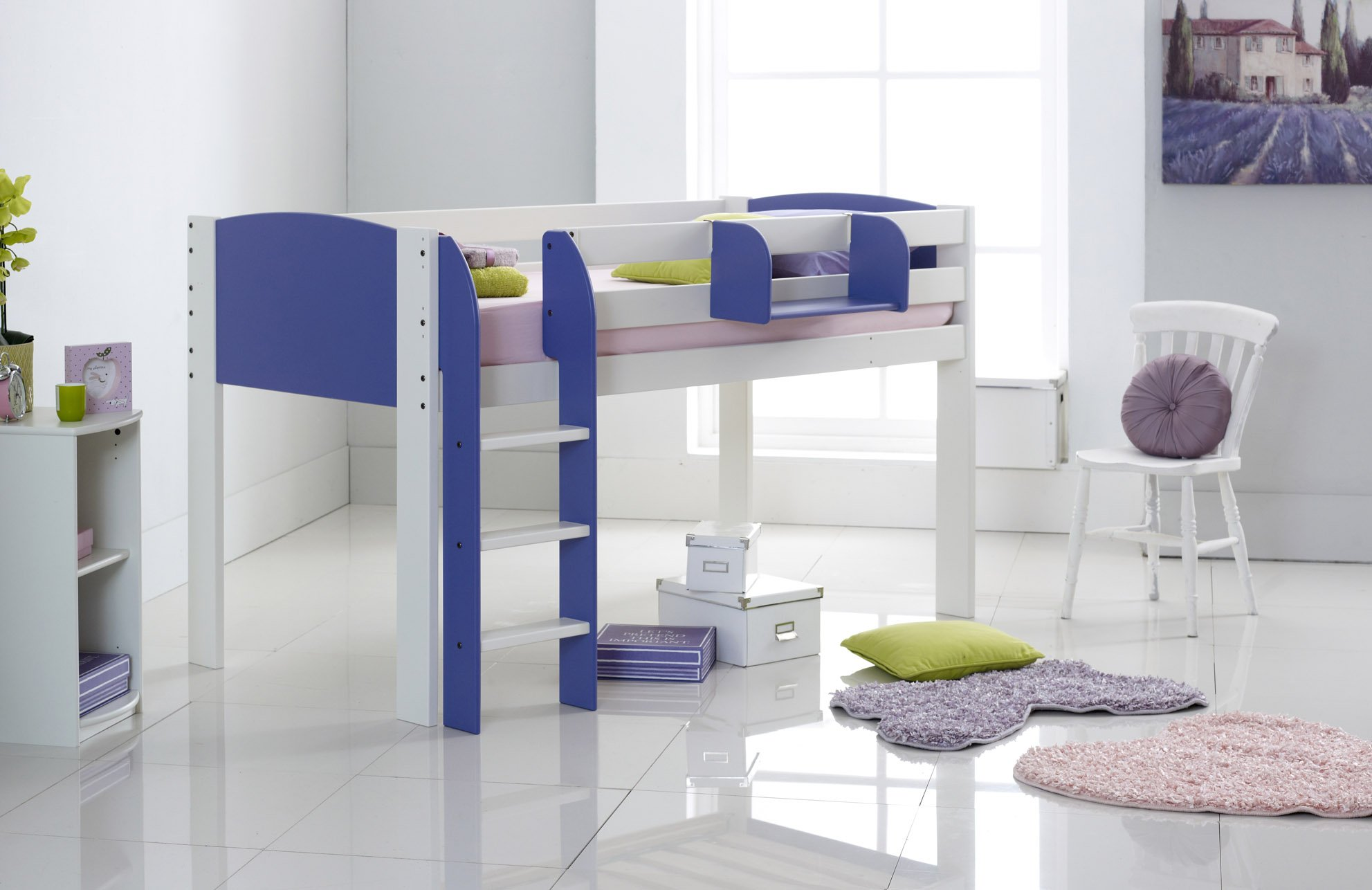Blue Cabin Bed Straight Ladder