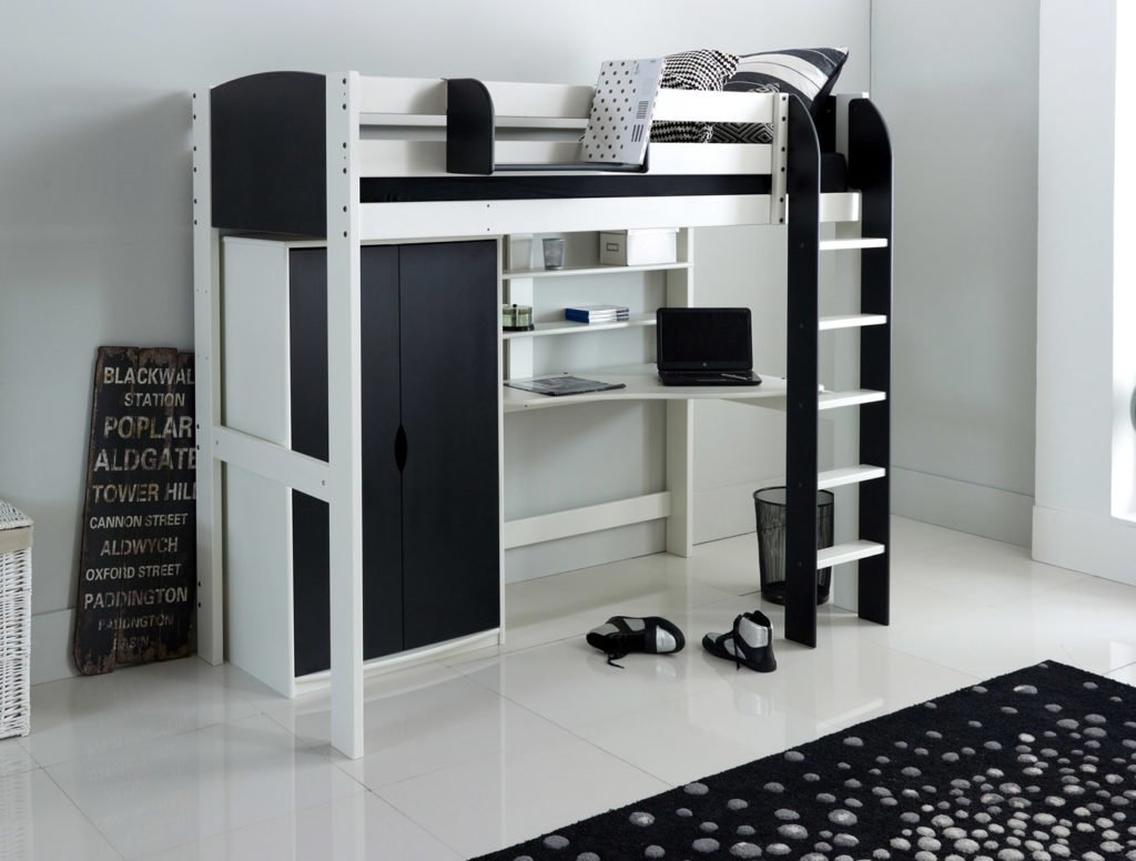 High Sleeper Bed With Wardrobe Desk And Shelves Scallywag Kids
