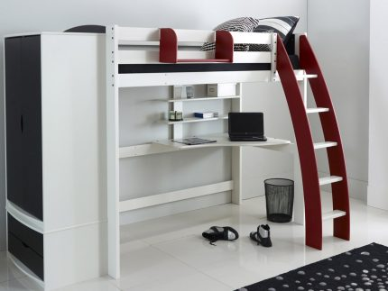 Red High Sleeper Bed with Desk
