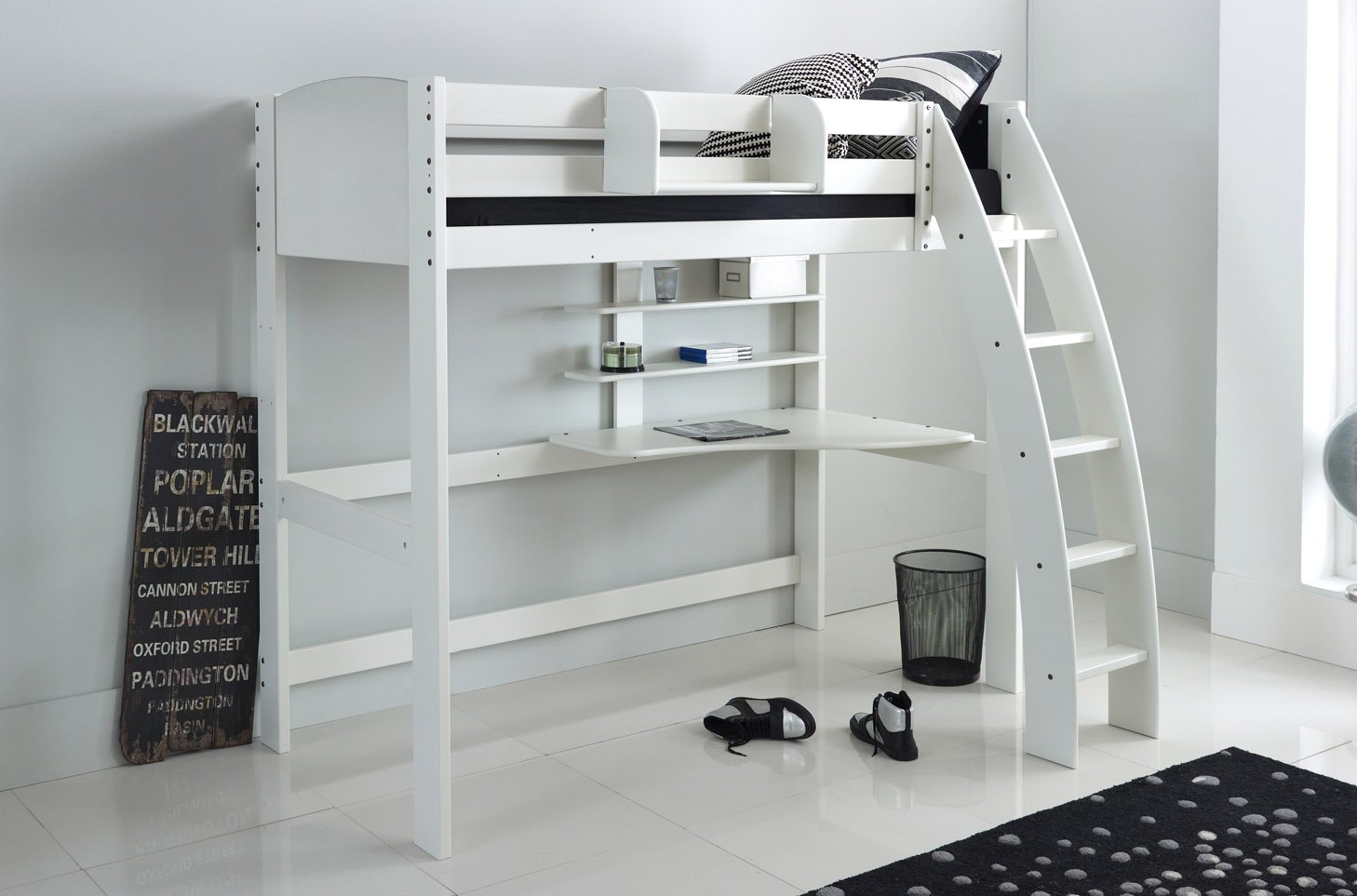 Small Box Room Cabin Bed For Grandma: High Sleeper Cabin Bed With Desk And Shelves