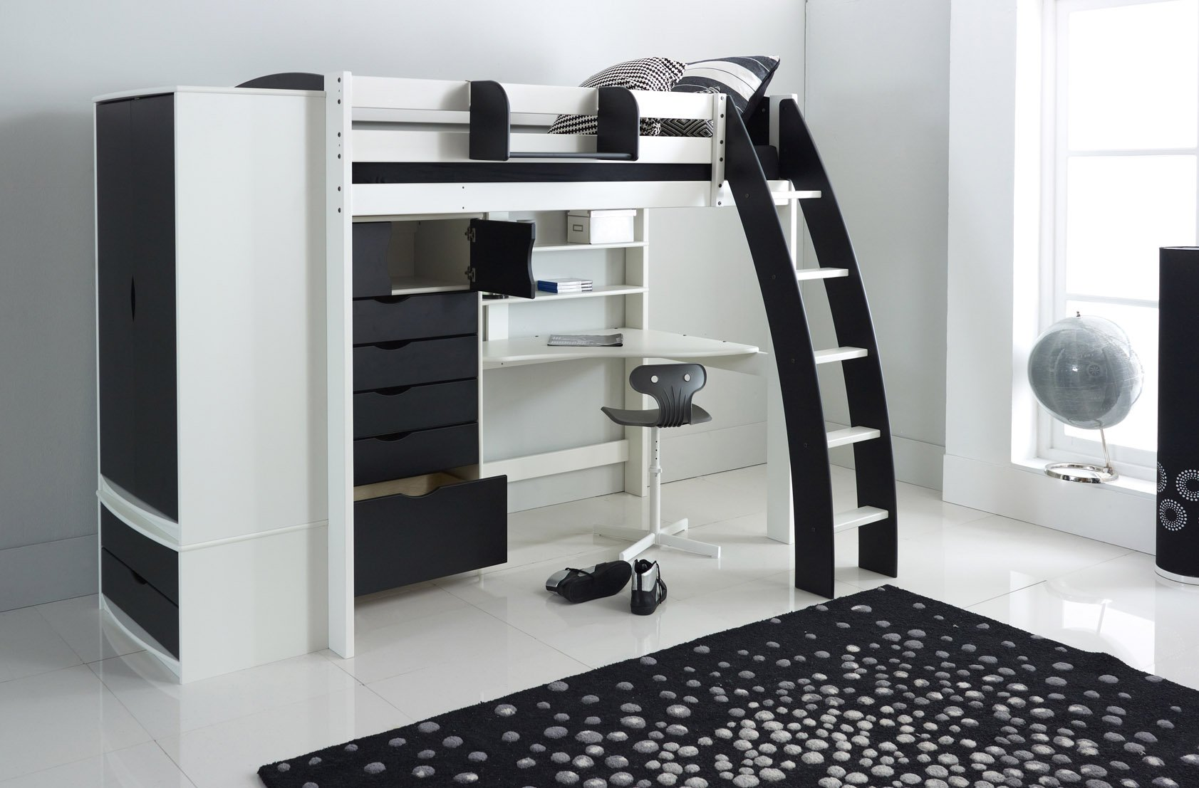 High Sleeper Bed With Integral Desk Shelves Wardrobe