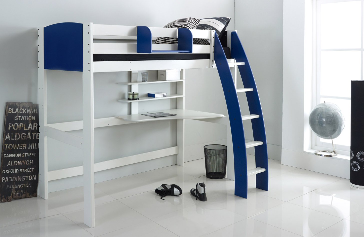 Blue High Sleeper Bed with Desk