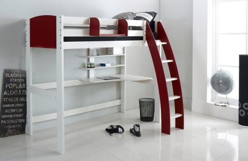Red High Sleeper Cabin Bed with Desk