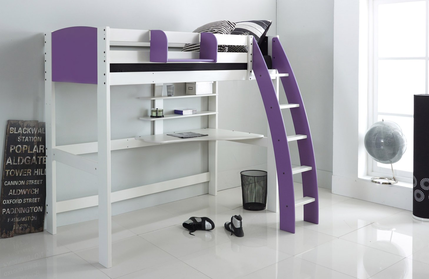 Lilac High Sleeper with Desk
