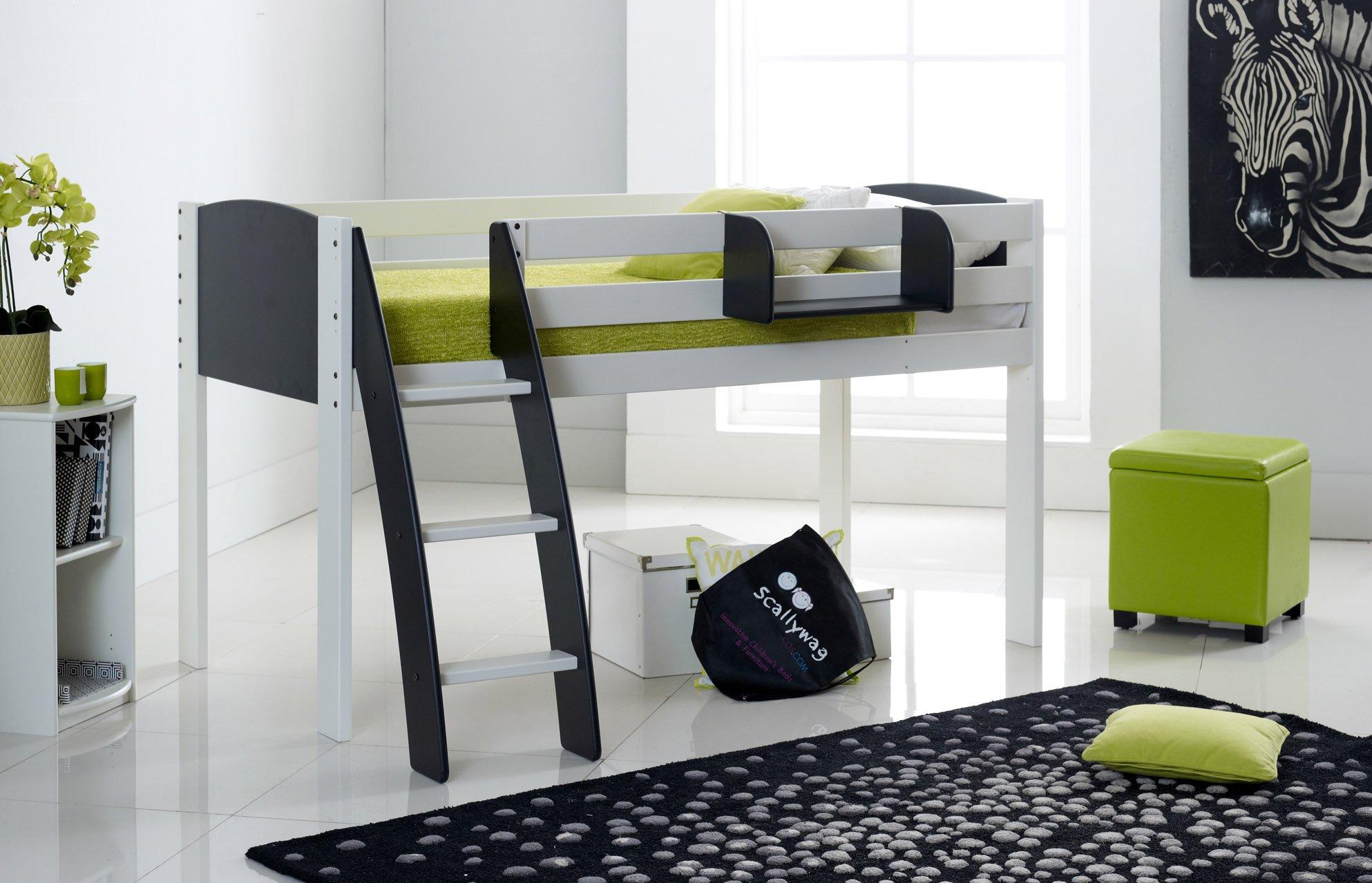 Black Cabin Bed Curved Ladder