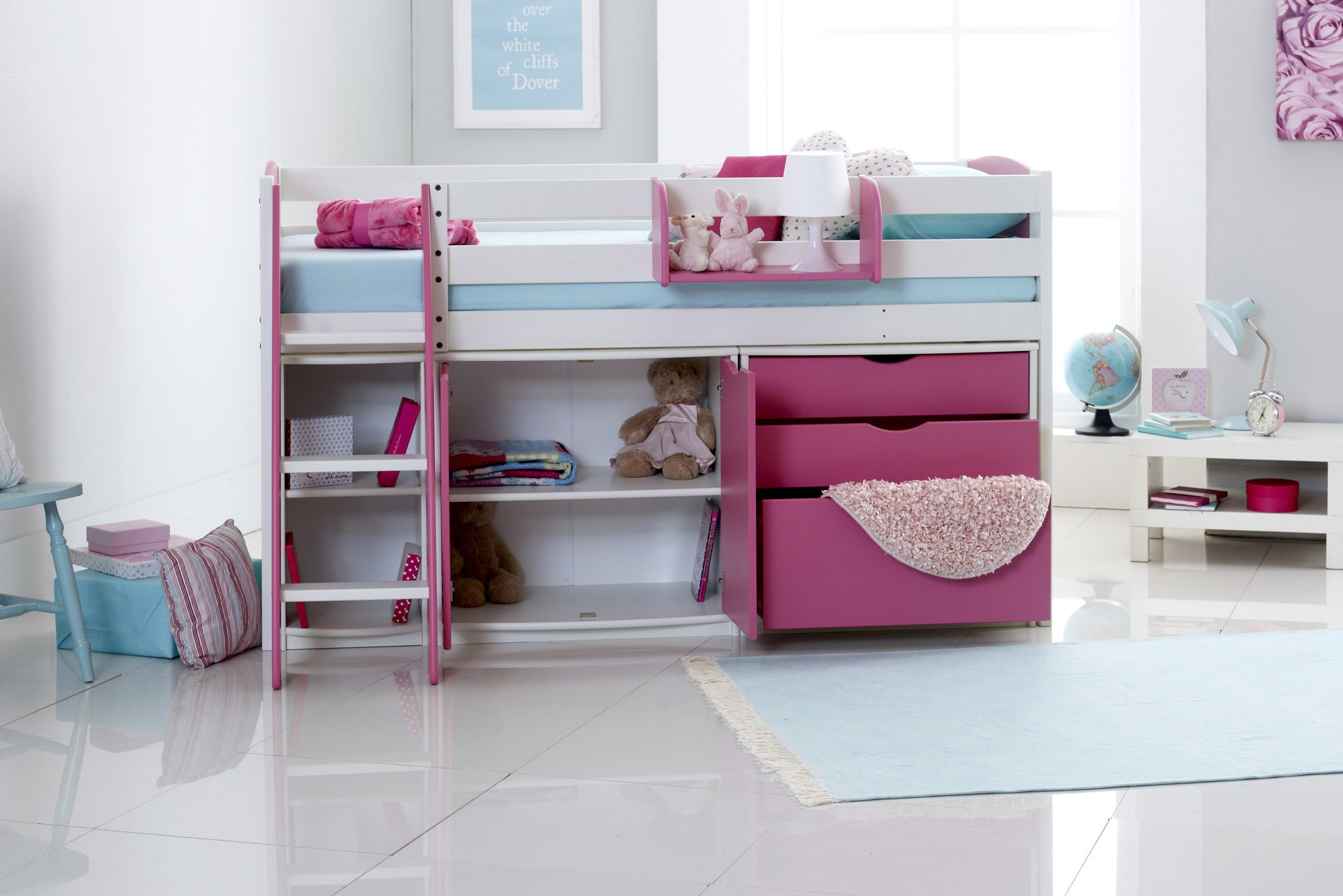Scallywag Kids Exclusive Mid Sleeper Cabin Bed With 3