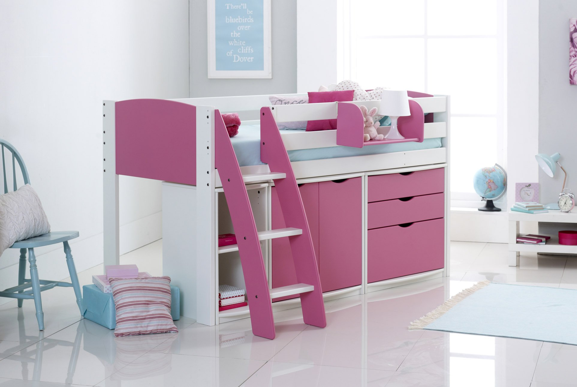 Pink Cabin Bed Curved Ladder Furniture