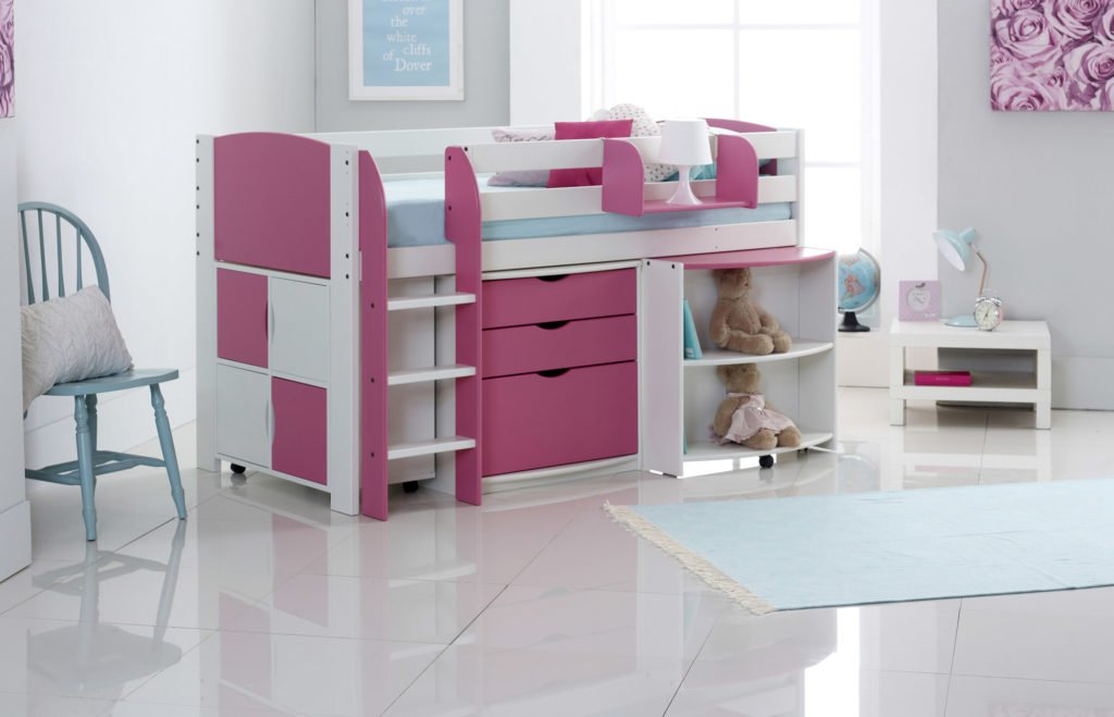 Picture of: Mid Sleeper Cabin Bed With Pull Out Desk 3 Drawer Chest Shelf Unit