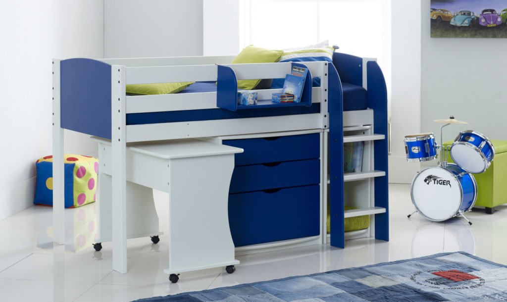 Picture of: Mid Sleeper Cabin Bed With Tuckaway Desk 3 Drawer Chest Shelf Unit