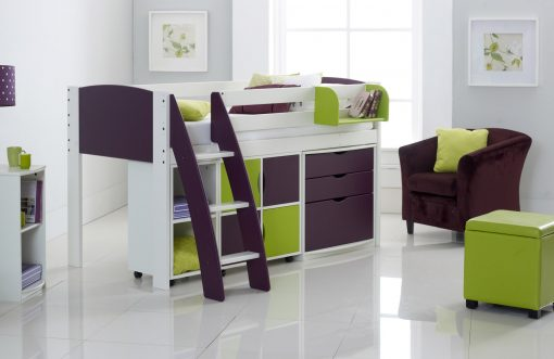 Scallywag Exclusive Children's Cabin Bed with Quad, Duo & 3 Drawer Chest