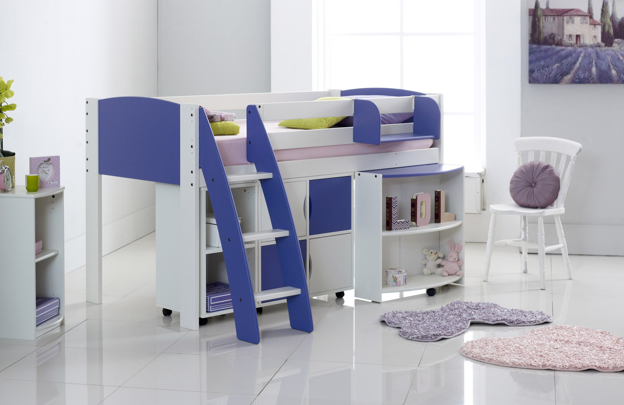 White/Blue Cabin Bed with Shelving & Pull Out Desk