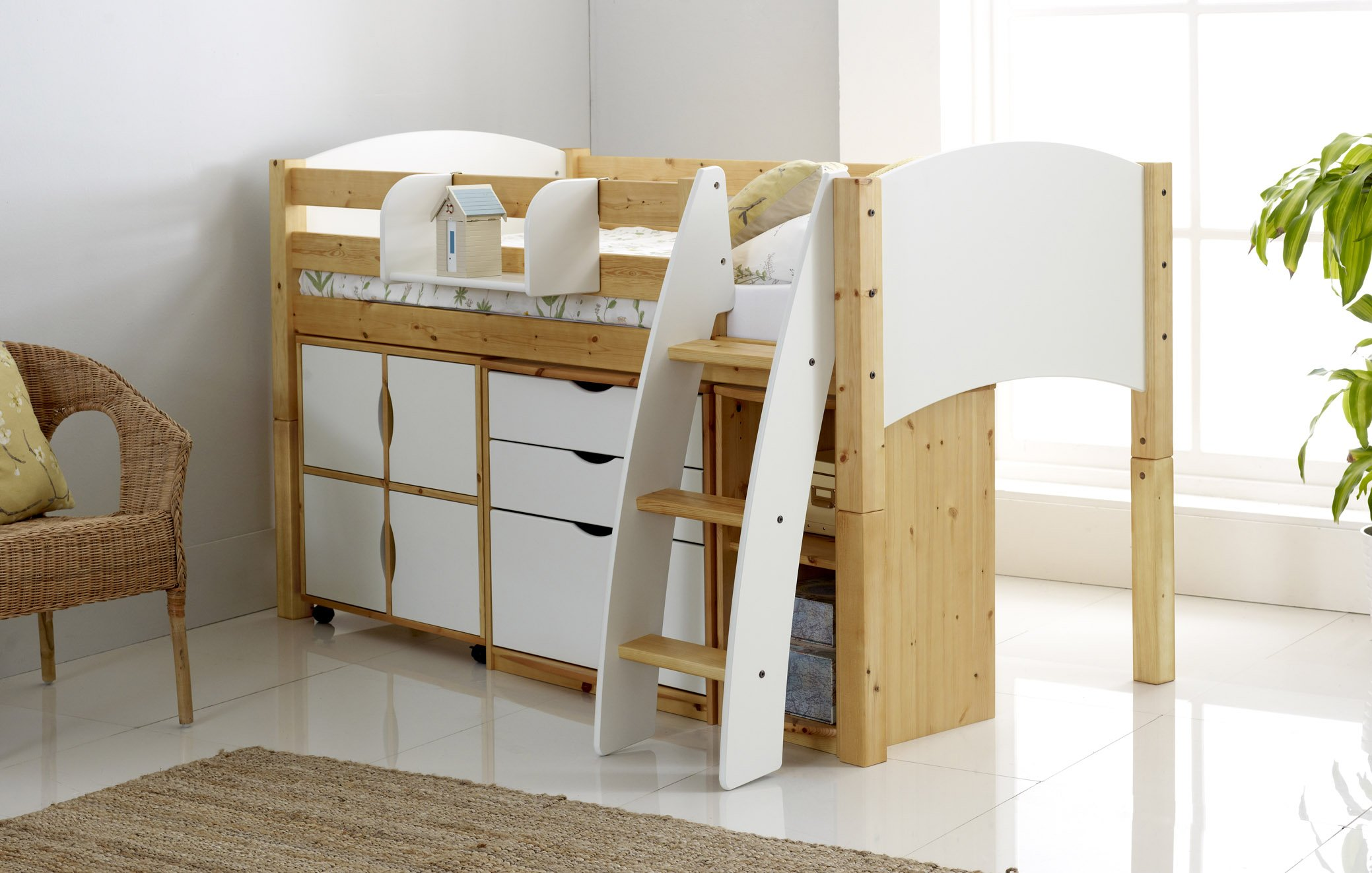 Childrens Kids 3 Tier Toy Bedroom Storage Shelf Unit 8: Honey Mid Sleeper Cabin Bed With Drawers, Cupboards, Shelves
