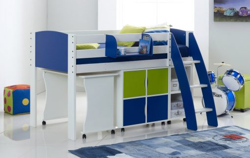 White/Blue/Lime Cabin Bed with Desk, Shelving & Cupboard
