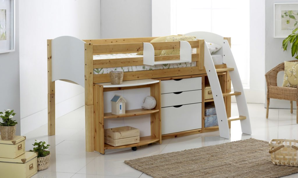 Childrens Animals Storage Box Chest 3 Kids Drawer Bedroom: Scallywag Convertible Honey Mid Height Cabin Bed With 3