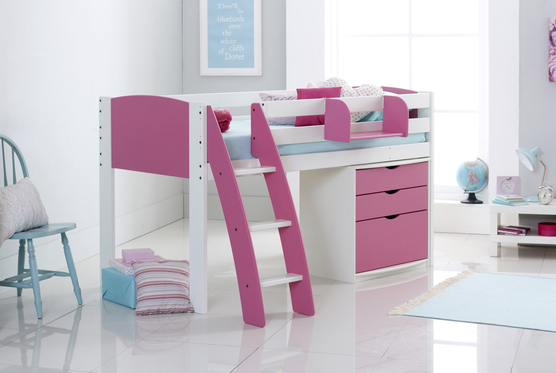 Scallywag Kids Exclusive Midsleeper Cabin Bed With Drawer Chest - Scallywags bedroom furniture