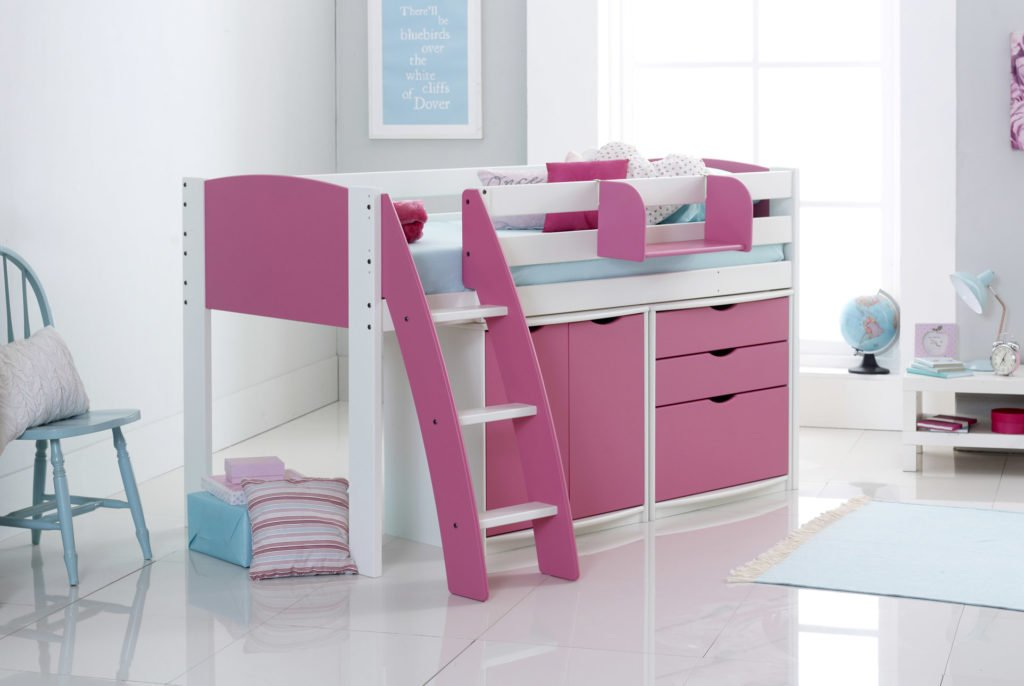 Scallywag Kids Mid Sleeper Cabin Bed with Drawers & Cupboard
