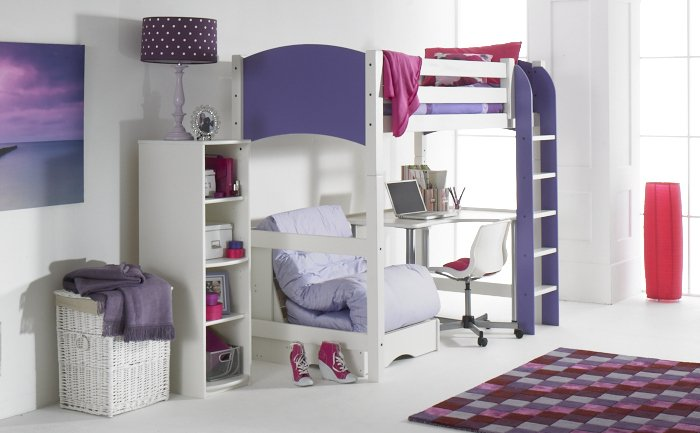 Lilac High Sleeper Beds with Chair Bed