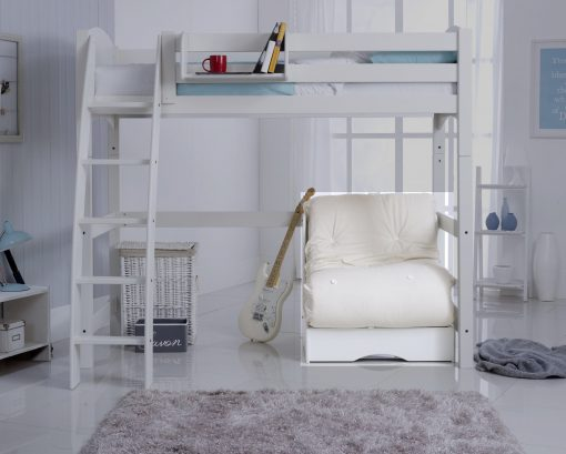 Chair Bed in White with Natural Futon