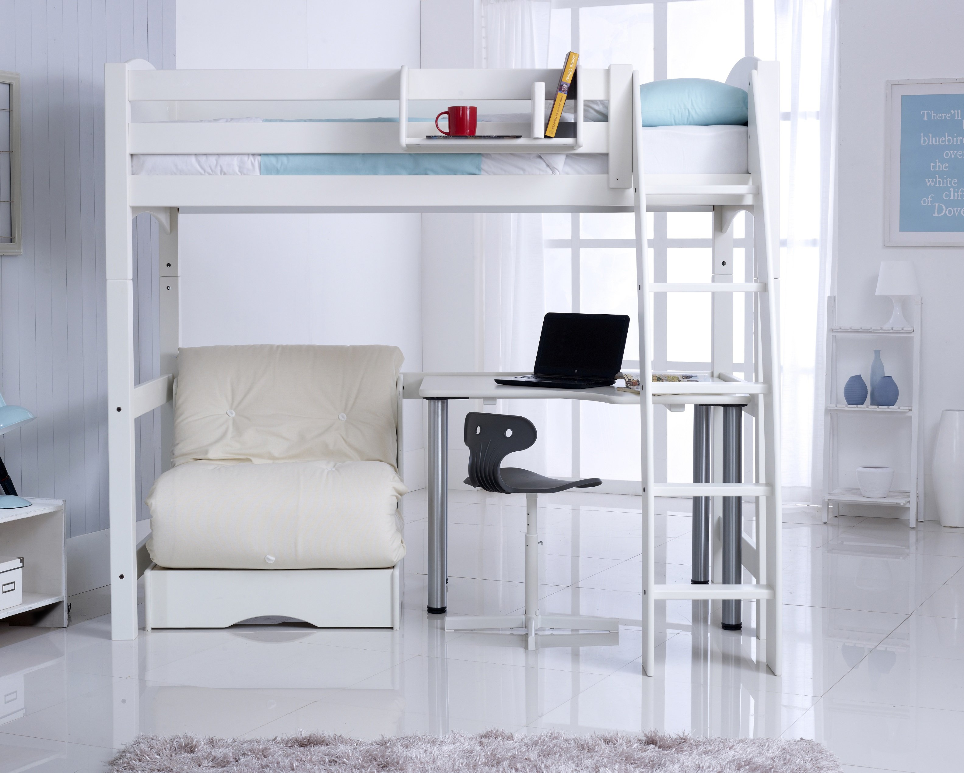 High Sleeper Bed With Futon Chair Bed And Free Standing Desk