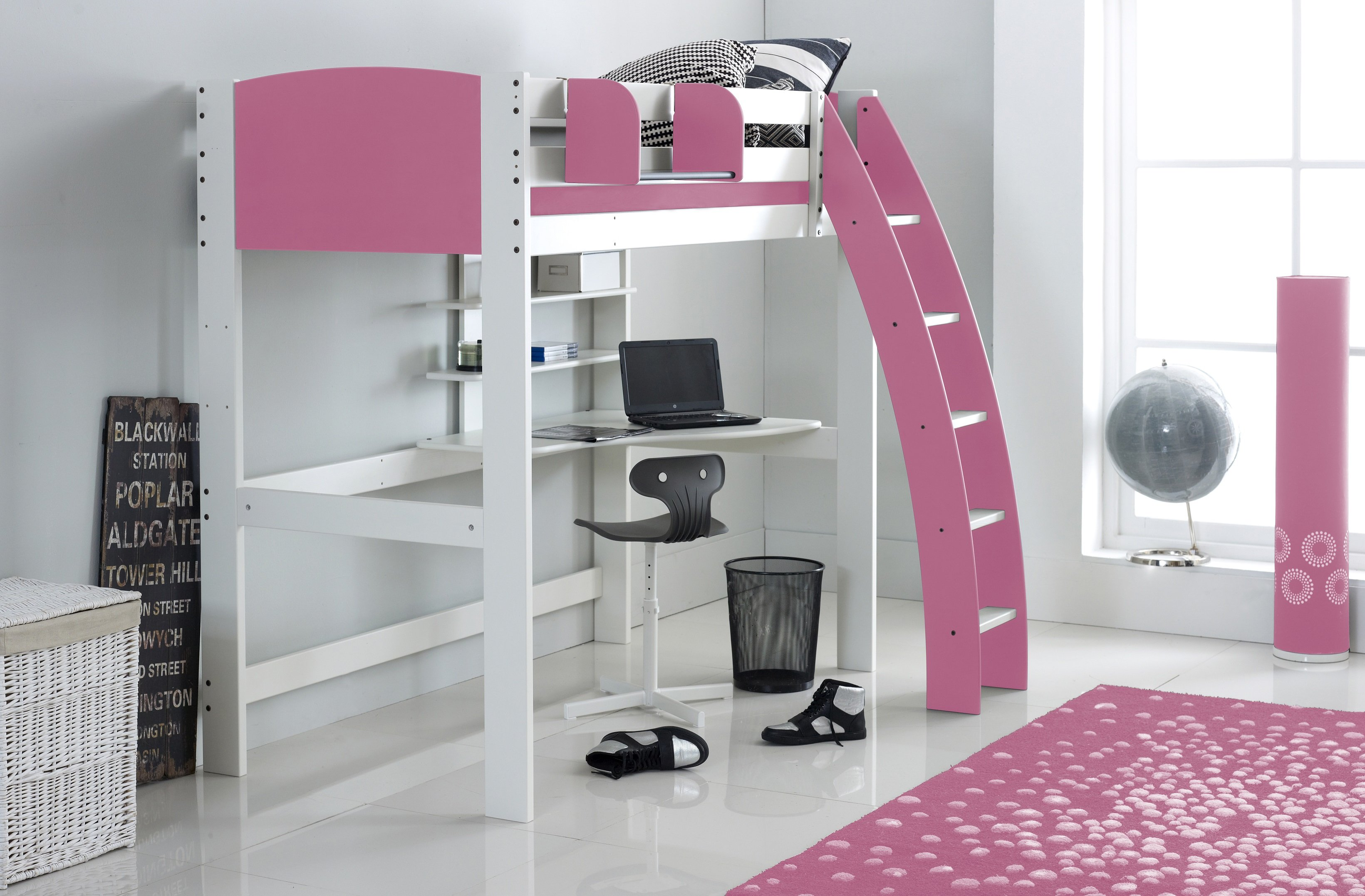 High Sleeper Cabin Bed With Desk And Shelves Scallywag Kids