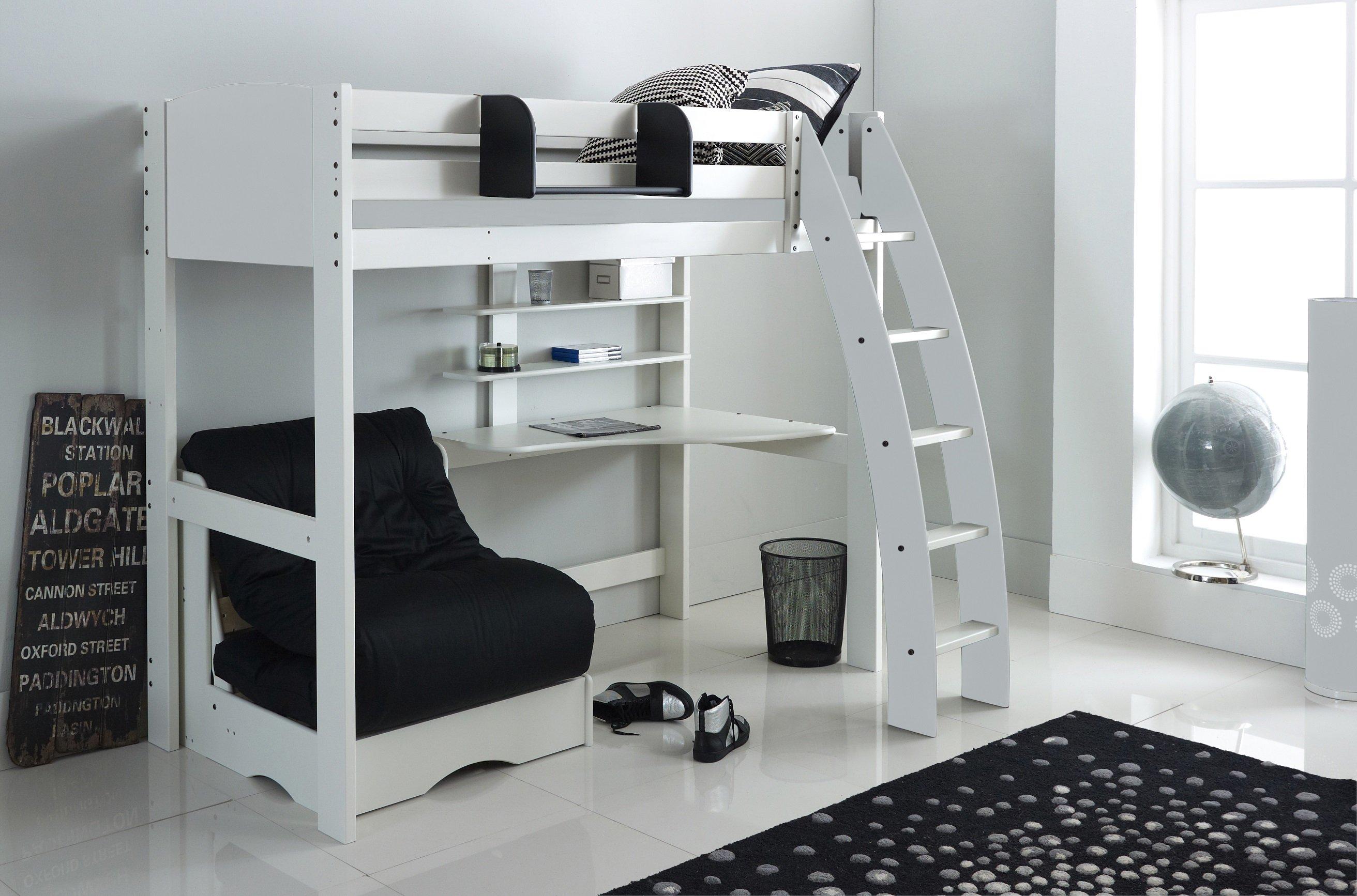 High Sleeper Bed Integral Desk Shelves Chair Scallywag