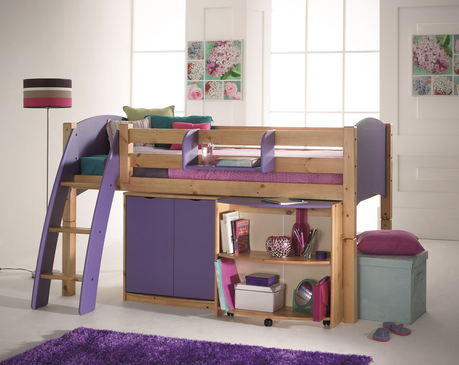 Scallywag Convertible Childs Midsleeper Cabin Bed With Pull Out - Scallywags bedroom furniture