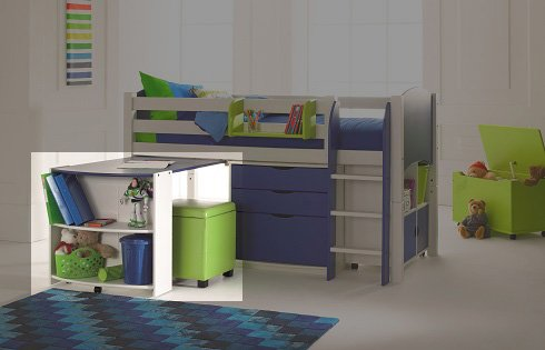 Pull Out Desk and Shelf Unit (shown in white/blue)