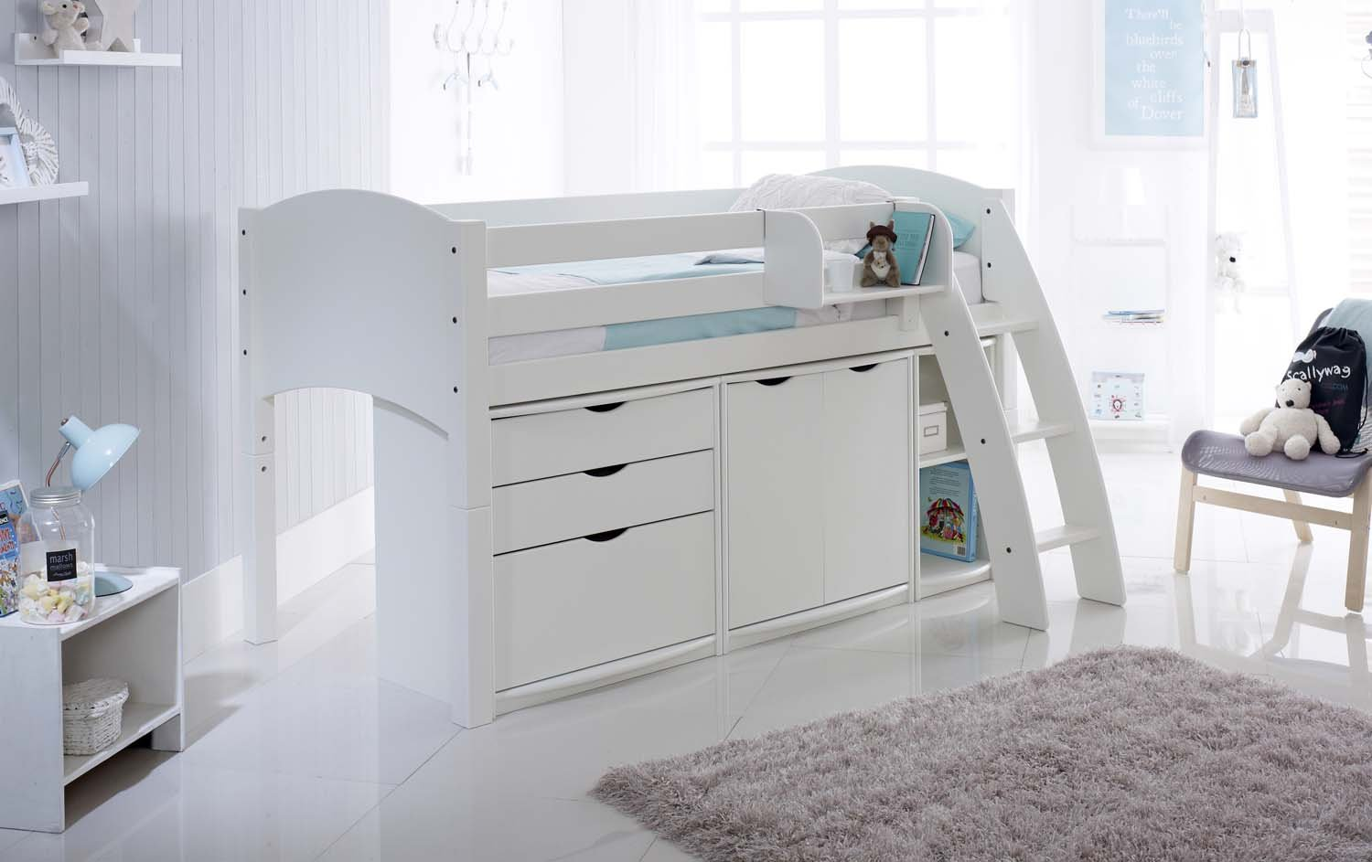 Convertible Mid Sleeper Cabin Bed With Drawers Cupboard