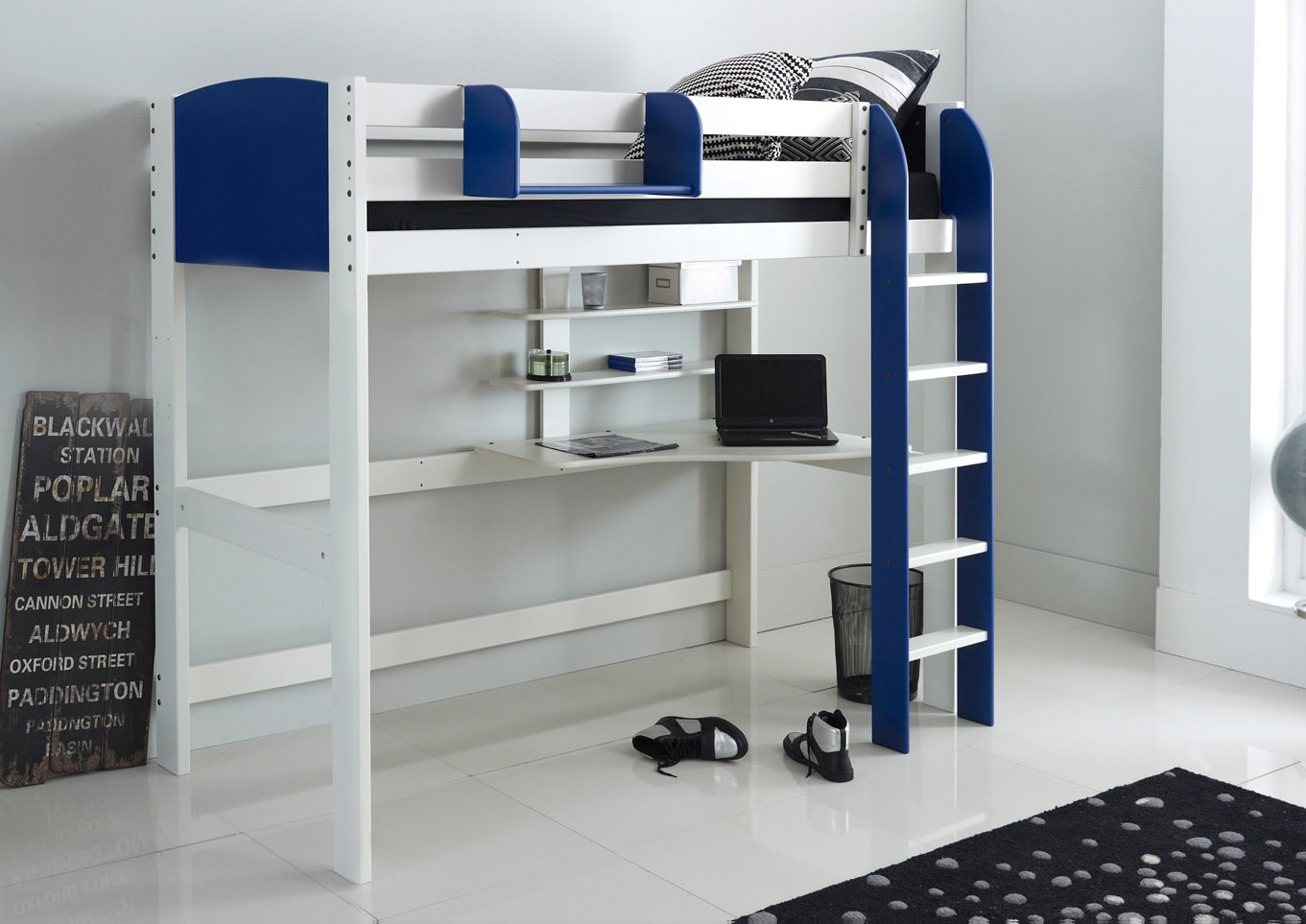 High Sleeper Bed With Desk And Shelves Scallywag Kids