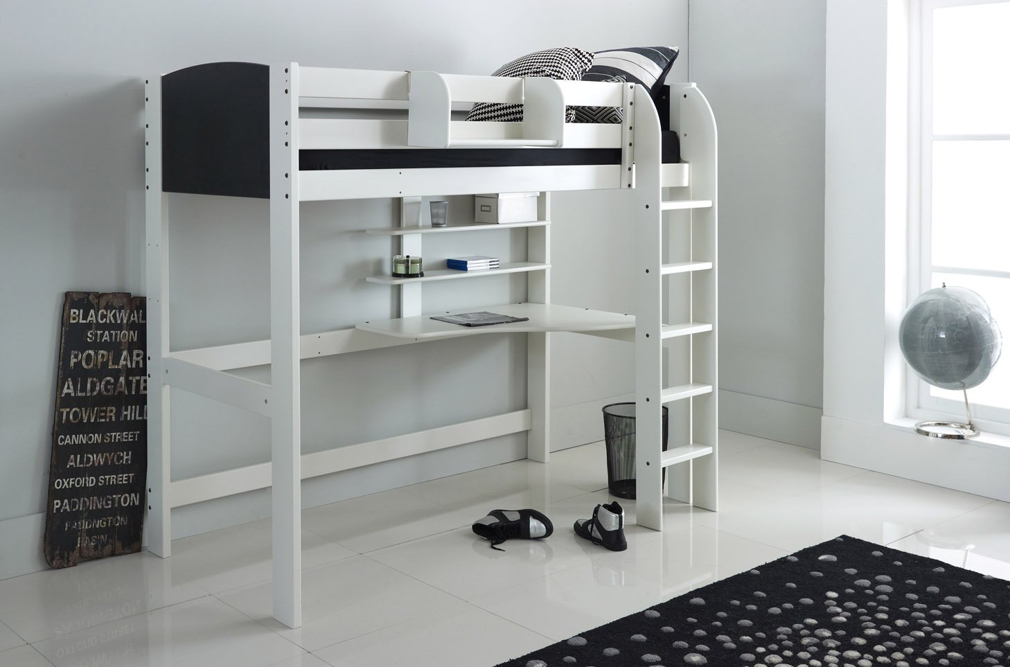 Small Box Room Cabin Bed: High Sleeper Bed With Desk And Shelves