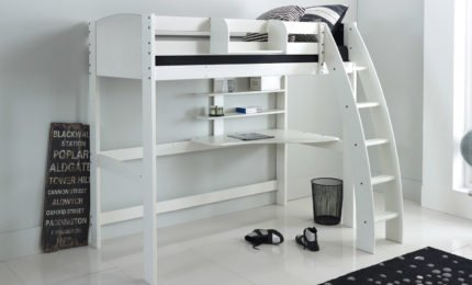 White High Sleeper with Curved Ladder