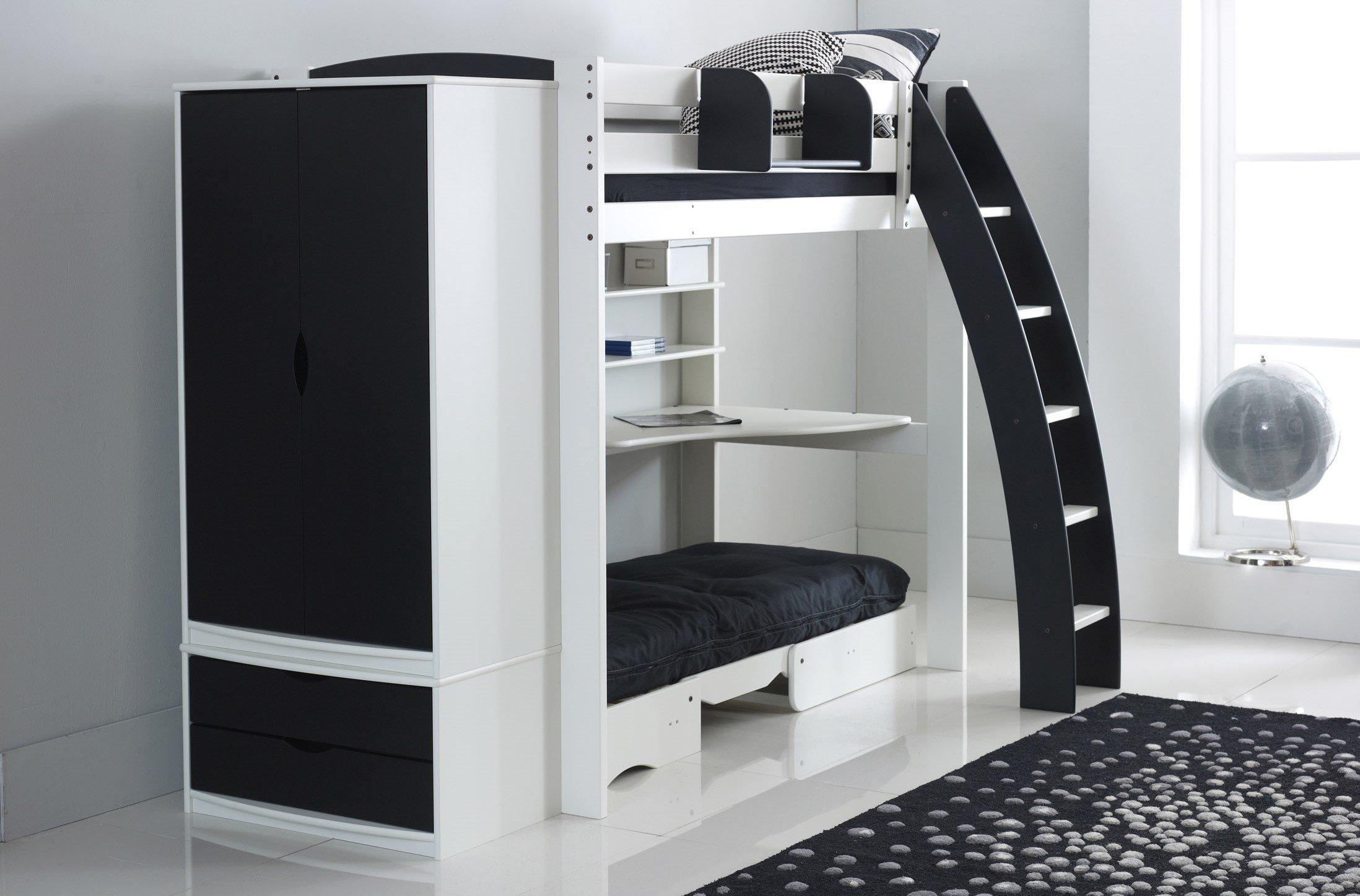 High Sleeper Bed With Desk Shelves Futon Drawers Wardrobe