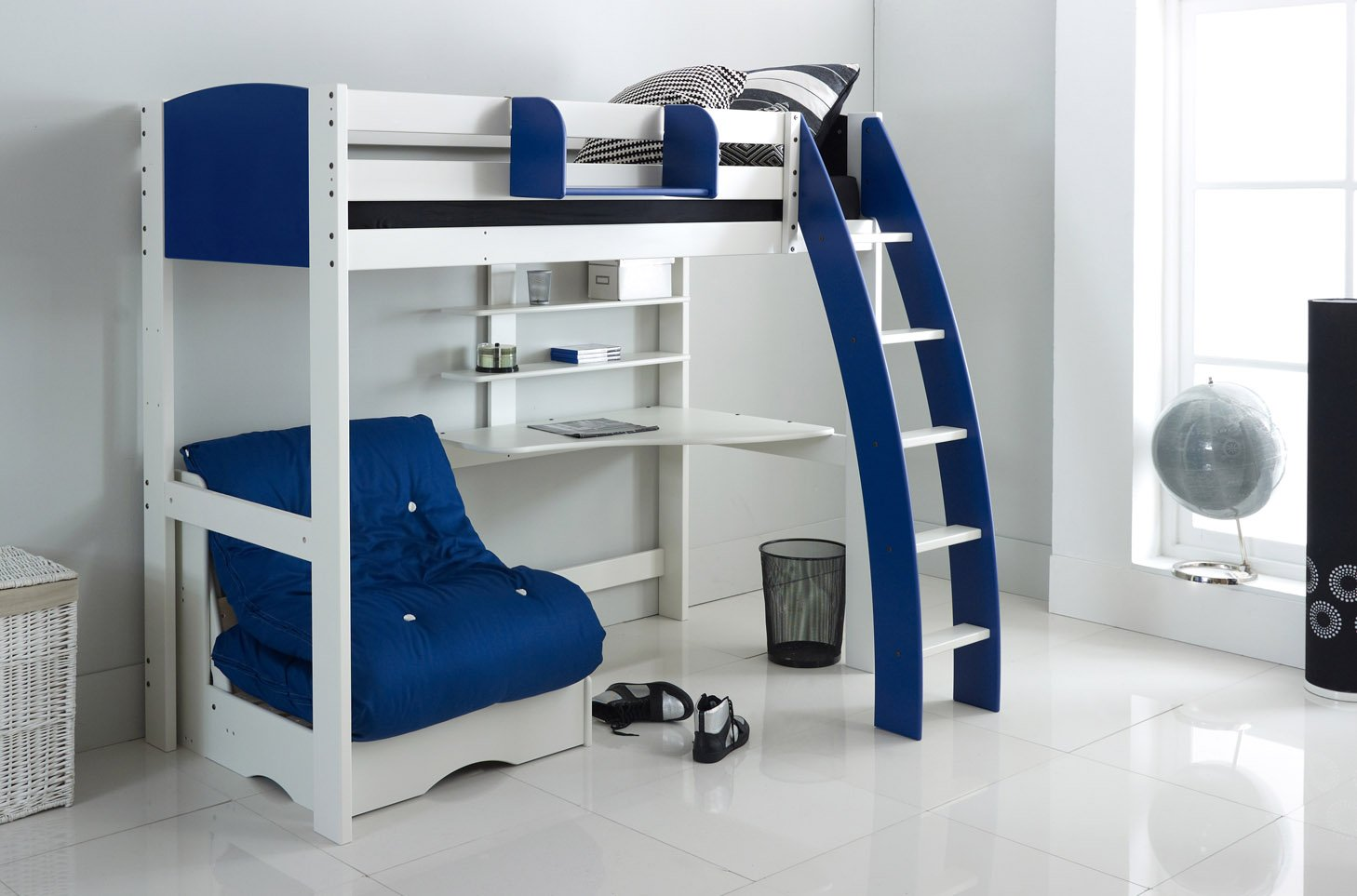 Scallywag Kids Exclusive High Sleeper Bed Integral Desk