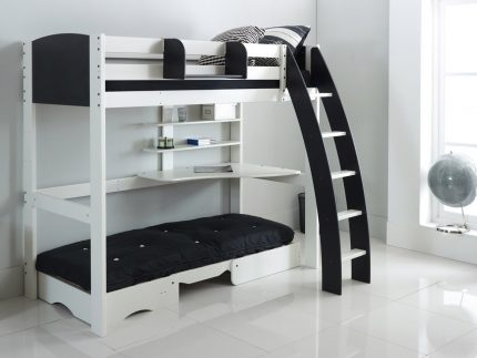Exclusive High Sleeper with Chair Bed (Under) White/Black Curved Ladder