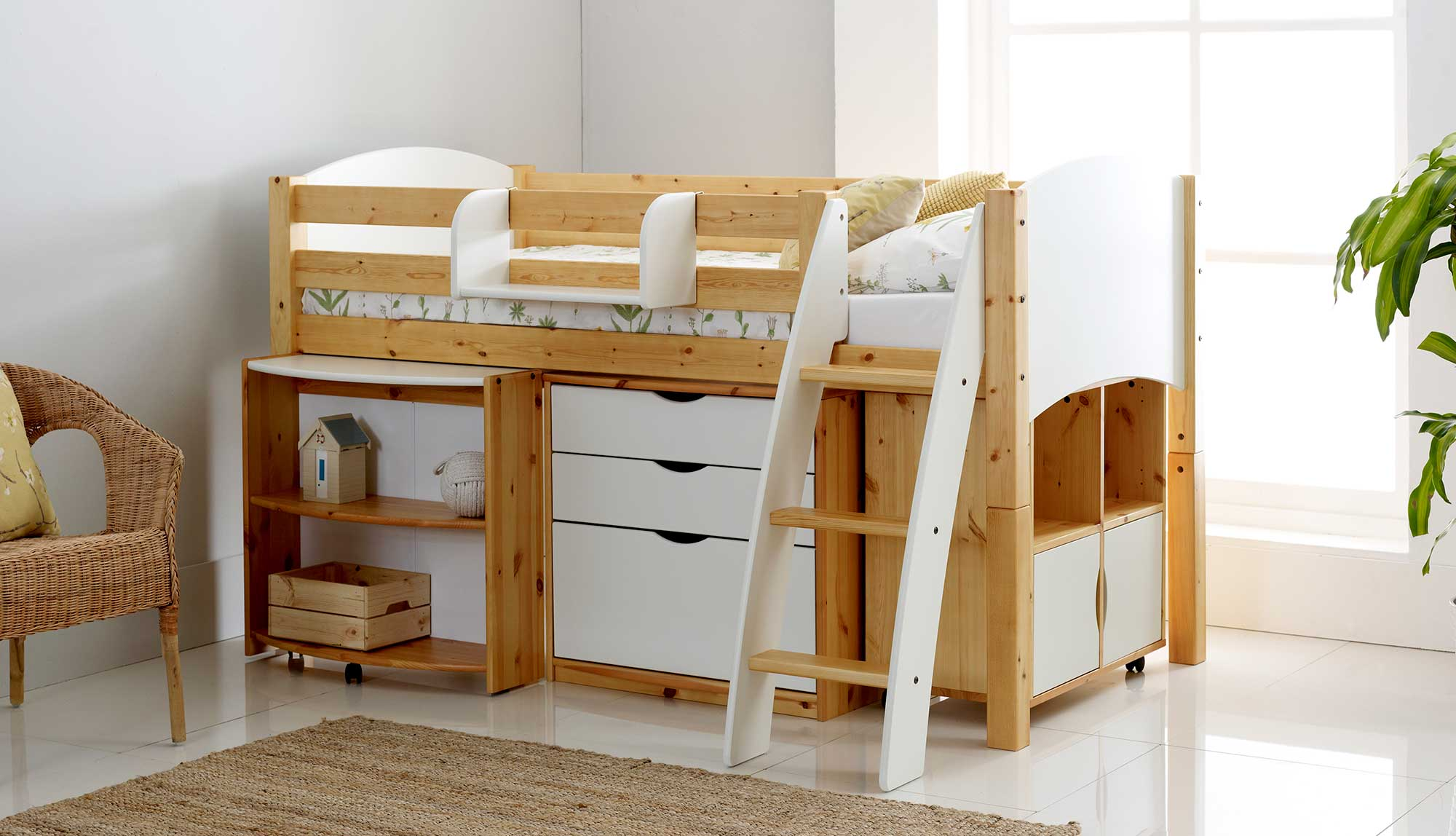 Childrens Kids 3 Tier Toy Bedroom Storage Shelf Unit 8: Honey Cabin Bed With 3 Drawer Chest, Pull Out Desk & Quad