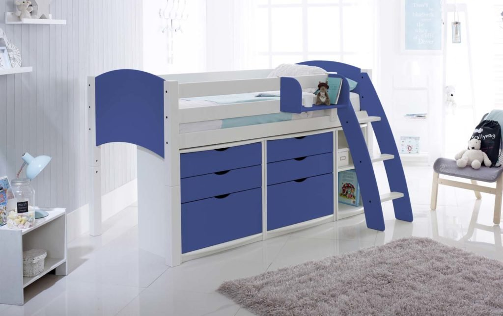 Small Box Room Cabin Bed For Grandma: Mid Height Cabin Bed With Drawer Units And Shelf