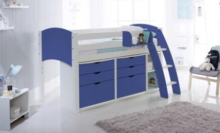 Mid Height Bed with 2 Chests of Drawers & Shelf Unit