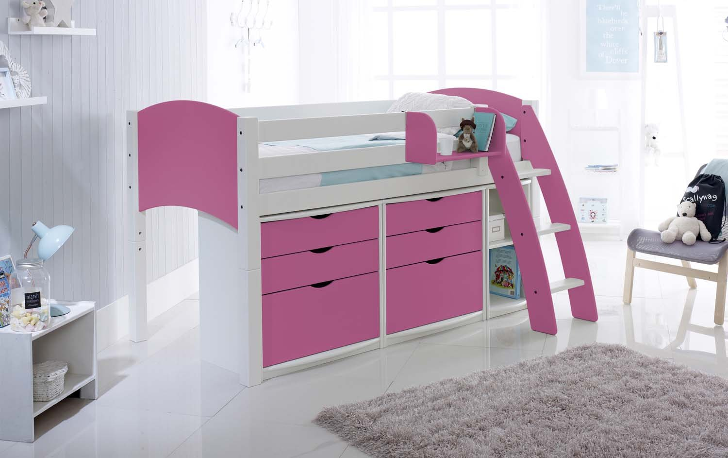 Scallywag Convertible Mid Height Cabin Bed With Drawer Units And - Scallywags bedroom furniture