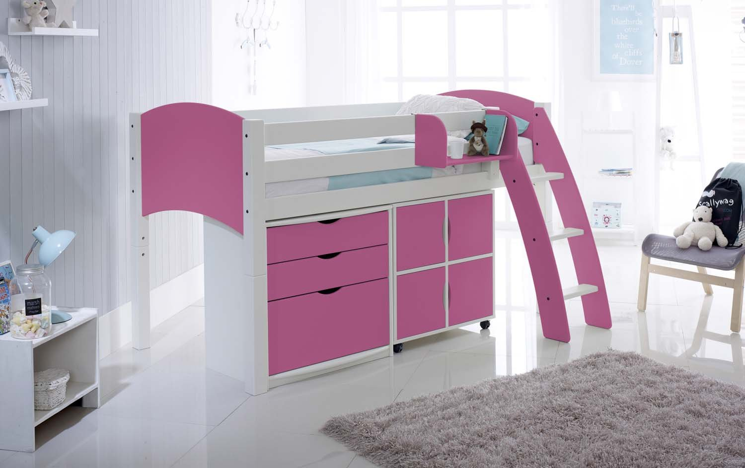 Childrens Kids 3 Tier Toy Bedroom Storage Shelf Unit 8: Cabin Bed With Drawers And Quad Storage Unit