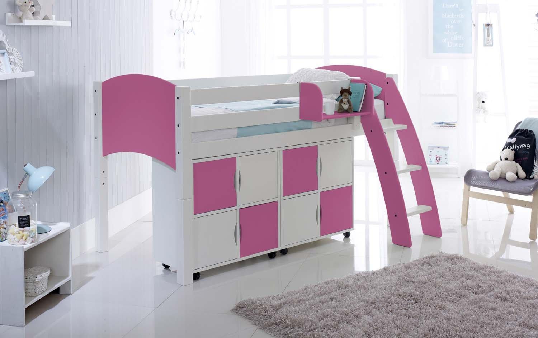 Mid Sleeper Children S Cabin Bed With Storage Units