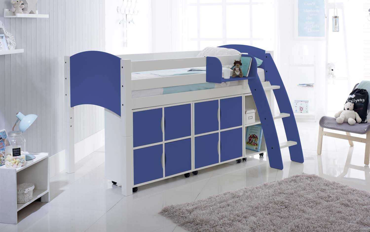 Small Box Room Cabin Bed: Midsleeper Cabin Bed With Storage Units & Shelves