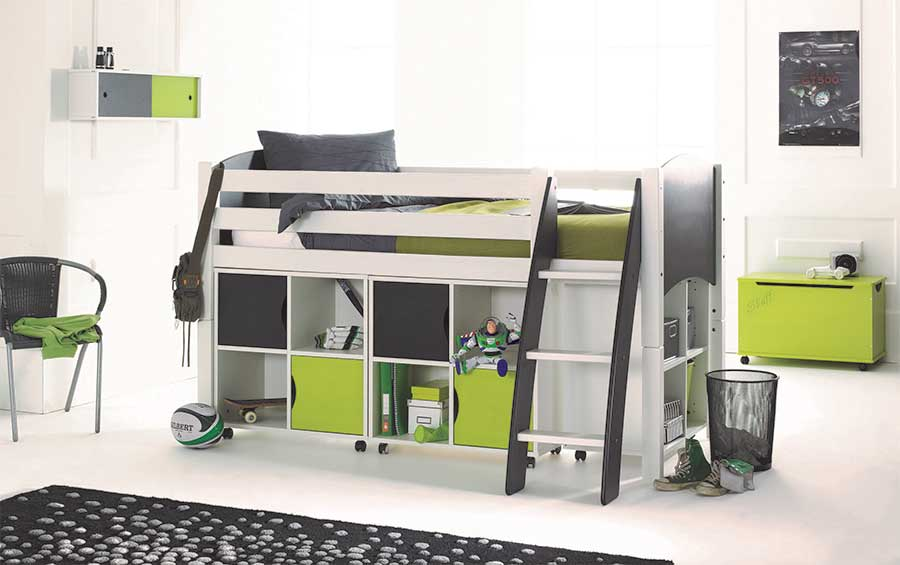 Scallywag Convertible Childrens Midsleeper Cabin Bed With Quad - Scallywags bedroom furniture