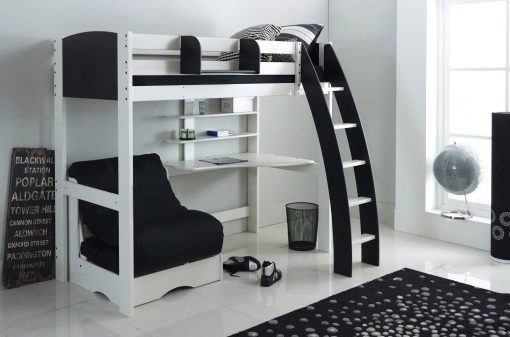 Exclusive High Sleeper Bed with Chair Bed Futon (shown in white/black)