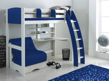 High Sleeper White/Blue with Chair Bed