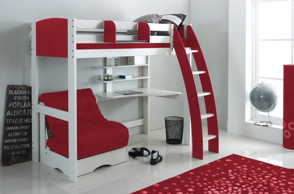High Sleeper White/Red with Chair Bed