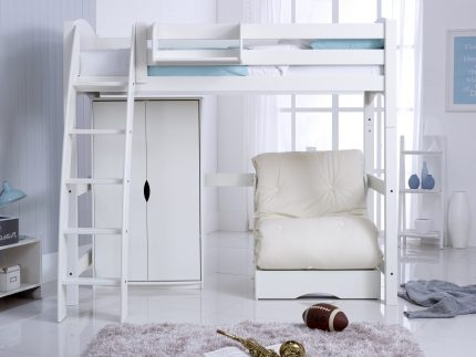 High Sleeper Bed with Wardrobe & Futon Chair Bed