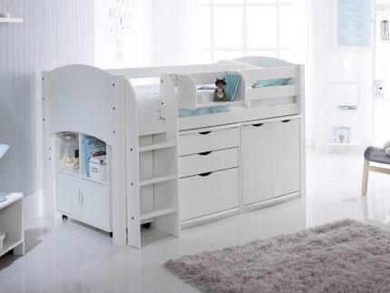Convertible Cabin Bed with 3 Drawer Chest, Cupboard & Quad Storage Unit